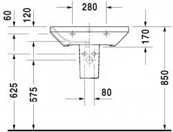 DURAVIT - DuraStyle Umývadlo s prepadom, 650 mmx440 mm, biele – trojotvorové umývadlo (2319650030), fotografie 2/3