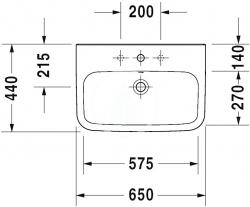 DURAVIT - DuraStyle Umývadlo s prepadom, 650 mmx440 mm, biele – trojotvorové umývadlo (2319650030), fotografie 6/3