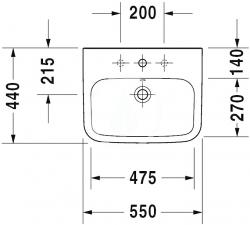 DURAVIT - DuraStyle Umývadlo s prepadom, 550 mmx440 mm, biele – trojotvorové umývadlo (2319550030), fotografie 4/3