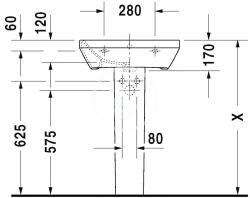 DURAVIT - DuraStyle Umývadlo s prepadom, 550 mmx440 mm, biele – trojotvorové umývadlo (2319550030), fotografie 2/3
