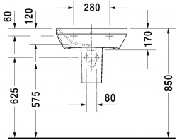 DURAVIT - DuraStyle Umývadlo s prepadom, 550 mmx440 mm, biele – trojotvorové umývadlo (2319550030), fotografie 6/3