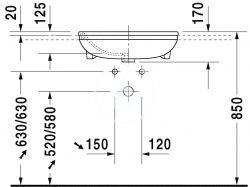 DURAVIT - DuraStyle Jednootvorové umývadlo s prepadom, 550 mmx455 mm, biele – umývadlo (0375550000), fotografie 4/2
