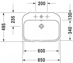DURAVIT - Happy D.2 Umývadlo s prepadom, 650 mmx500mm, biele – jednootvorové umývadlo (2316650000), fotografie 2/3