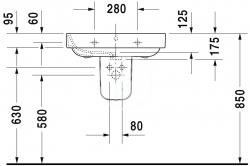 DURAVIT - Happy D.2 Umývadlo s prepadom, 650 mmx500mm, biele – jednootvorové umývadlo (2316650000), fotografie 6/3