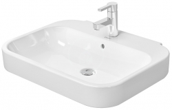 DURAVIT - Happy D.2 Umývadlo s prepadom, 600 mmx475 mm, biele – trojotvorové umývadlo (2316600030)