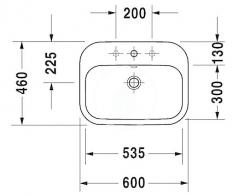 DURAVIT - Happy D.2 Umývadlo s prepadom, 600 mmx460 mm, biele – trojotvorové umývadlo (0483600030), fotografie 4/2