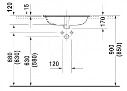 DURAVIT - Happy D.2 Umývadlo s prepadom, 600 mmx460 mm, biele – trojotvorové umývadlo (0483600030), fotografie 2/2