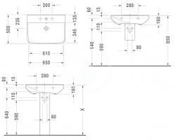 DURAVIT - P3 Comforts Umývadlo s prepadom, 650 mmx500 mm, biele – jednootvorové umývadlo (2331650000), fotografie 2/3