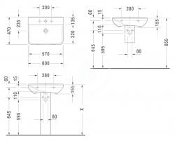 DURAVIT - P3 Comforts Umývadlo s prepadom, 600 mmx470 mm, biele – jednootvorové umývadlo (2331600000), fotografie 2/3