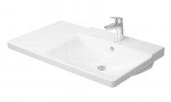 DURAVIT - P3 Comforts Umývadlo do nábytku asymetrické s prepadom, 850 mmx500 mm, biele – trojotvorové umývadlo (2334850030)