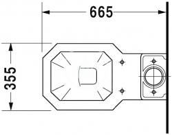 DURAVIT - 1930 Stojacia kombinačná misa, 355 mmx390 mmx665 mm, biely – misa, odpad vnútri zvislý (0227010000), fotografie 6/4