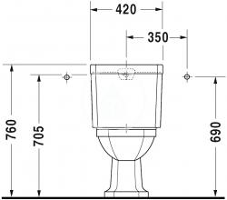 DURAVIT - 1930 Stojacia kombinačná misa, 355 mmx390 mmx665 mm, biely – misa, odpad vodorovný (0227090000), fotografie 8/4