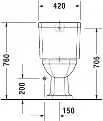 DURAVIT - 1930 Stojacia kombinačná misa, 355 mmx390 mmx665 mm, biely – misa, odpad vodorovný (0227090000), fotografie 4/4