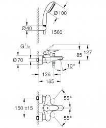 GROHE - Eurostyle Páková vaňová batéria s príslušenstvom, chróm (2372930A), fotografie 2/1