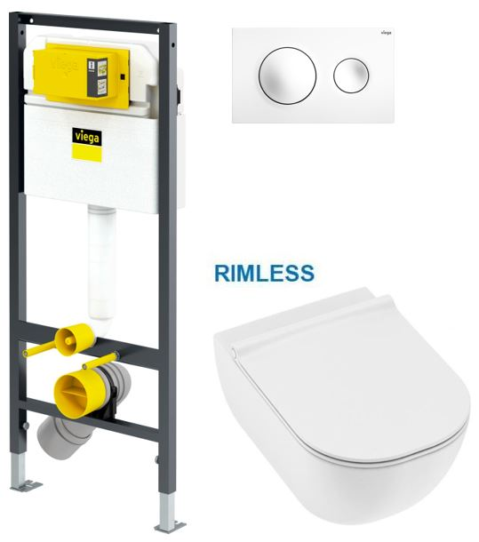 VIEGA Presvista modul DRY pro WC včetně tlačítka Style 20 bílé + WC JIKA MIO + SEDÁTKO SLIM (V771973 STYLE20BI IO1)