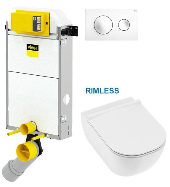 VIEGA Presvista modul PURE pro WC včetně tlačítka Style 20 bílé + WC JIKA MIO + SEDÁTKO SLIM (V771928 STYLE20BI IO1)