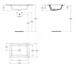 IDEAL STANDARD - Strada Umývadlo pod dosku 595mmx435mmx170mm, biela s Ideal plus (K0779MA), fotografie 4/2