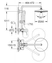 GROHE - Euphoria Concetto Sprchový systém 260 s pákovou nástennou batériou, chróm (23061002), fotografie 8/4