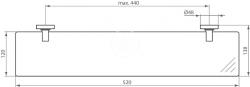 IDEAL STANDARD - IOM Sklenená polička 520x138x48mm, satinované sklo, chróm (A9124AA), fotografie 2/3