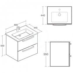 IDEAL STANDARD - Tempo Skrinka pod umývadlo 600x440x550mm, dub pieskový (E3240OS), fotografie 4/2