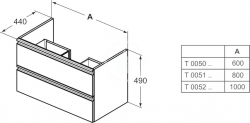 IDEAL STANDARD - Tesi Skrinka pod umývadlo, 1000x440x490 mm, lesklá biela (T0052OV), fotografie 2/5