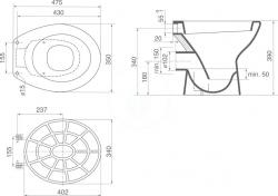 IDEAL STANDARD - Výlevky Plastová mriežka k výlevke Eurovit (VV612000), fotografie 2/1