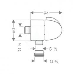 HANSGROHE - Kolínka Pripojenie hadice FixFit E Stop s uzatváracím ventilom, chróm (27452000), fotografie 2/1