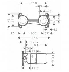 HANSGROHE - Montážní tělesa Základné teleso na umývadlovú batériu pod omietku (13622180), fotografie 2/1