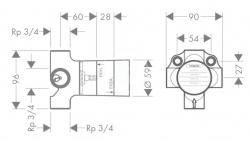 HANSGROHE - Trio/Quattro Základné teleso na štvorcestný prepínací ventil pod omietku (15930180), fotografie 2/1