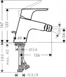 HANSGROHE - Focus E2 Bidetová páková batéria s odtokovou súpravou s ťahadlom, chróm (31920000), fotografie 4/2