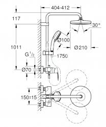 GROHE - Tempesta Cosmopolitan Sprchový systém 210 s pákovou nástennou batériou, chróm (26224001), fotografie 6/4