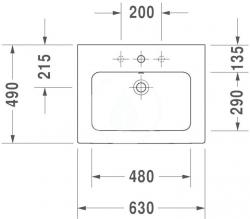 DURAVIT - ME by Starck Umývadlo nábytkové 630x490 mm, s 1 otvorom na batériu, alpská biela (2336630000), fotografie 8/4
