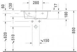 DURAVIT - ME by Starck Umývadlo nábytkové 630x490 mm, s 1 otvorom na batériu, alpská biela (2336630000), fotografie 4/4