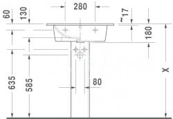 DURAVIT - ME by Starck Umývadlo nábytkové 630x490 mm, s 1 otvorom na batériu, alpská biela (2336630000), fotografie 6/4