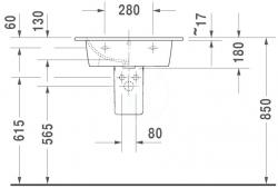 DURAVIT - ME by Starck Umývadlo nábytkové 630x490 mm, s 1 otvorom na batériu, alpská biela (2336630000), fotografie 2/4
