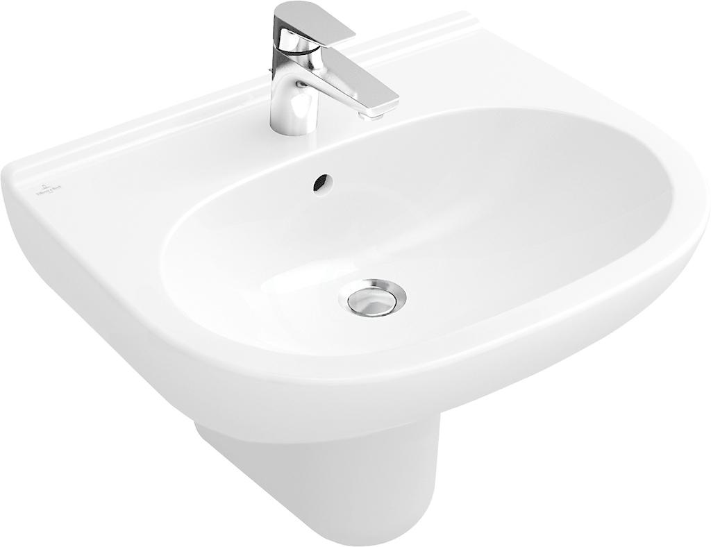 VILLEROY & BOCH - O.novo Umývadlo, 550 mm x 450 mm, biele – jednootvorové umývadlo, s prepadom 51605501