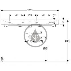 GEBERIT - iCon Umývadlo, 1200 mm x 485 mm, biele - dvojotvorové umývadlo, s KeraTect (124020600), fotografie 8/4