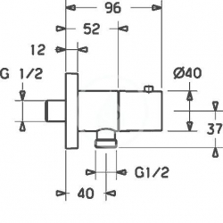 HANSA - Jet Nástenný prípojný oblúk, chróm (51570172), fotografie 2/2