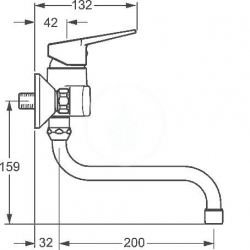 HANSA - Twist Páková drezová nástenná batéria, chróm (09692193), fotografie 2/3
