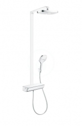 HANSGROHE - Raindance Select E Showerpipe 300 2jet EcoSmart, termostatická sprchová batéria, sprchové rameno 380 mm, biela/chróm (27282400)