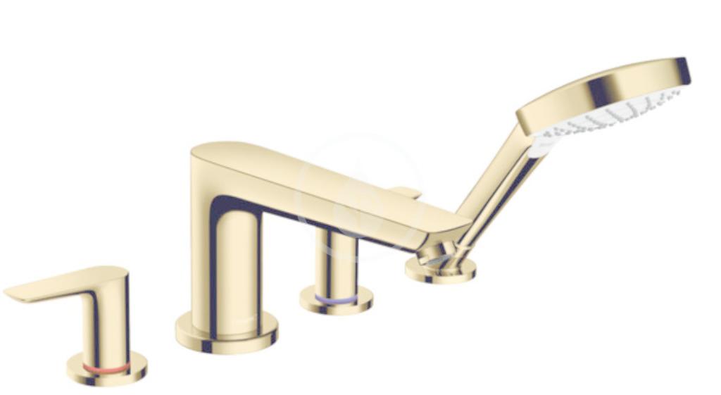HANSGROHE - Talis E Vanová baterie na okraj vany, 4-otvorová instalace, leštěný vzhled zlata (71748990)