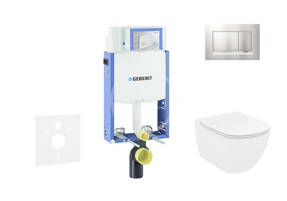 GEBERIT - Kombifix Sada pro závěsné WC + klozet a sedátko Ideal Standard Tesi - sada s tlačítkem Sigma30, matný/lesklý/matný chrom (110.302.00.5 NF7)