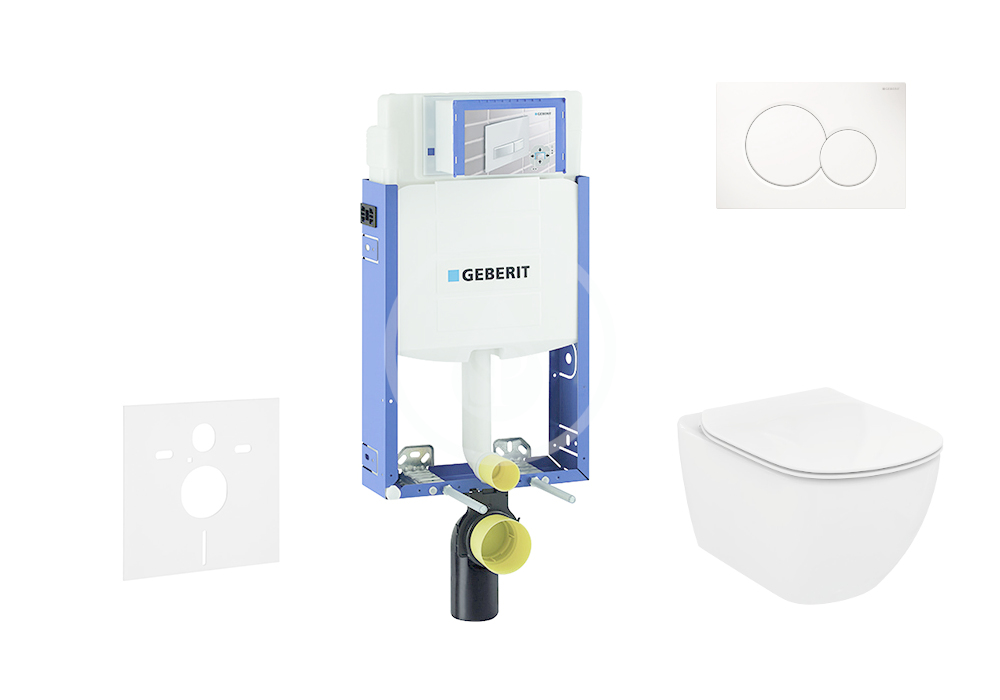 GEBERIT - Kombifix Sada pro závěsné WC + klozet a sedátko Ideal Standard Tesi - sada s tlačítkem Sigma01, bílé (110.302.00.5 NF1)