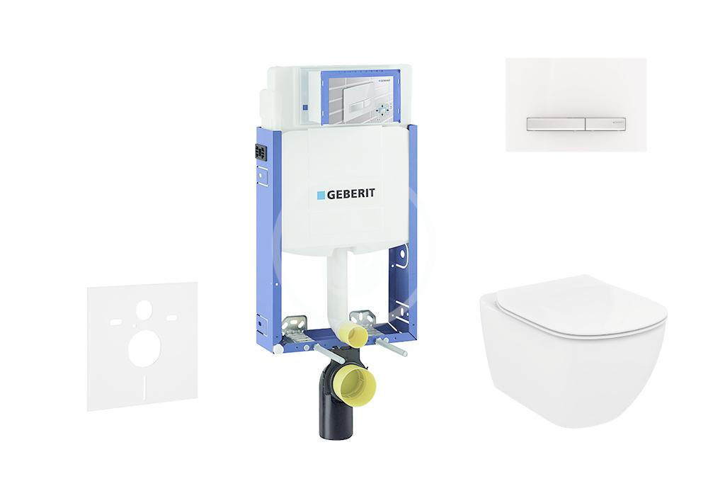 GEBERIT - Kombifix Modul pro závěsné WC s tlačítkem Sigma50, alpská bílá + Ideal Standard Tesi - WC a sedátko (110.302.00.5 NF8)
