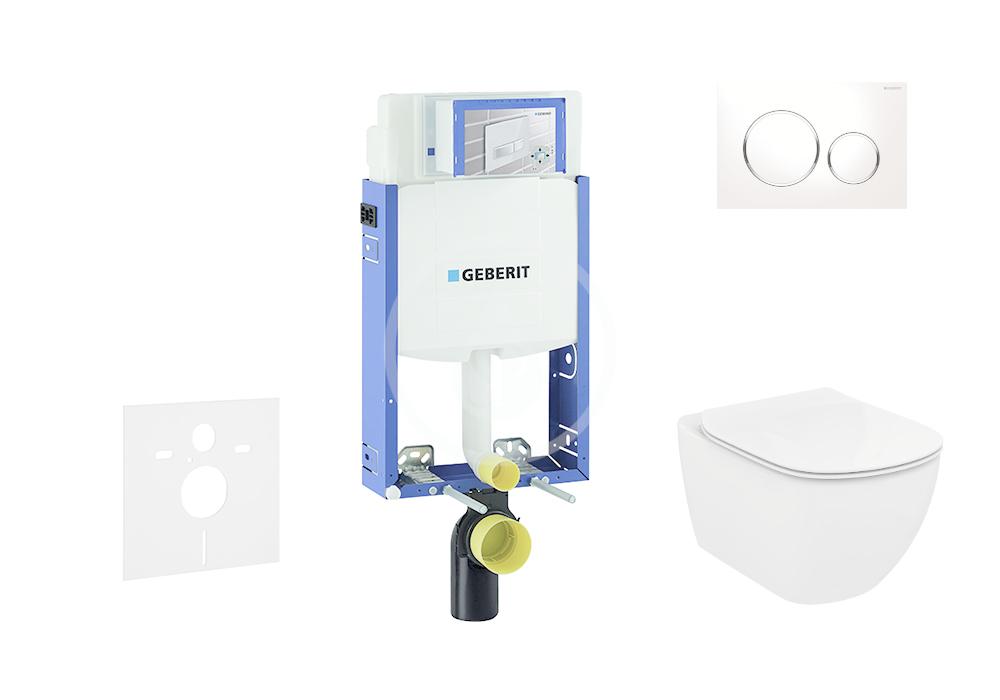 GEBERIT - Kombifix Modul na závesné WC s tlačidlom Sigma 20, biela/lesklý chróm + Ideal Standard Tesi - WC a doska, Rimless, SoftClose 110.302.00.5 NE4