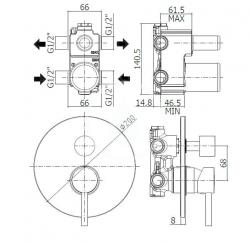 PAFFONI - Stick Sprchová podomietková batéria s prepínačom, 2 vývody, chróm (SK018CR), fotografie 4/2