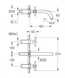 GROHE - Atrio Umývadlová podomietková batéria, 3-otvorová inštalácia, chróm (20164003), fotografie 4/2