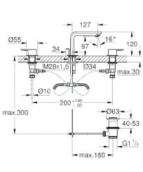 GROHE - Lineare Umývadlová 3-otvorová batéria M, chróm (20304001), fotografie 2/1