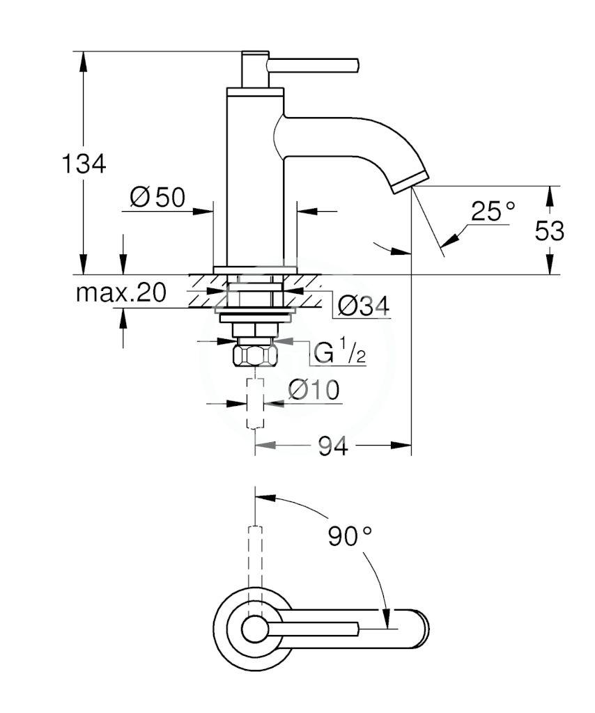 GROHE - Atrio Umývadlový ventil, veľkosť XS, chróm (20021003)
