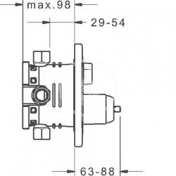 HANSA - Varox Pro Vaňová batéria pod omietku, s prepínačom na 2 výstupy, chróm (40529083), fotografie 2/2